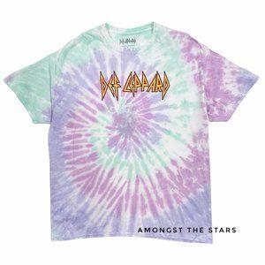 Def Leppard Rainbow Tie Dye Men's Band T-Shirt